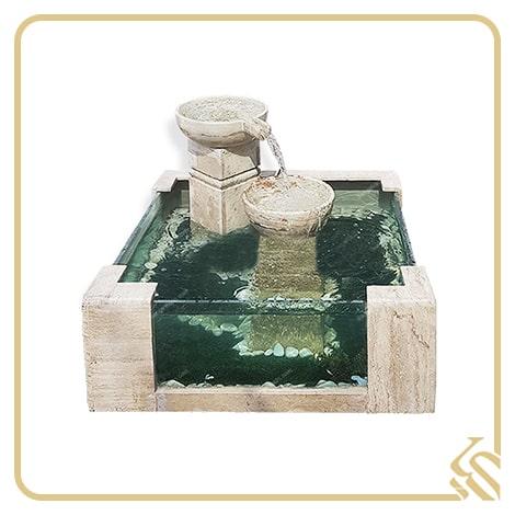 آبنما سنگی آکواریومی 2 ستونه سابین